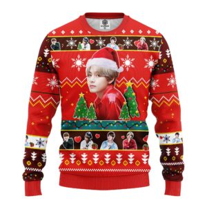 V Bts Ugly Christmas Sweater Red