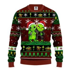 Yoda And Grinch Ugly Christmas Sweater Brown Green