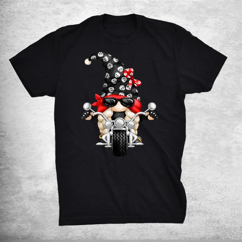 Biker Girl Gnomie Xmas Matching Couple Funny Skull Gnome Shirt
