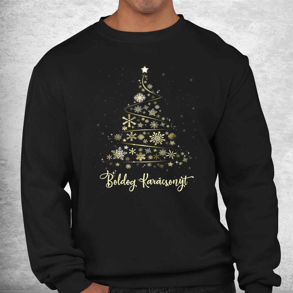 Boldog Karacsonyt Hungarian Christmas Tree Merry Xmas Shirt