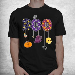 boo halloween costume spiders ghosts pumkin and witch hat shirt 1