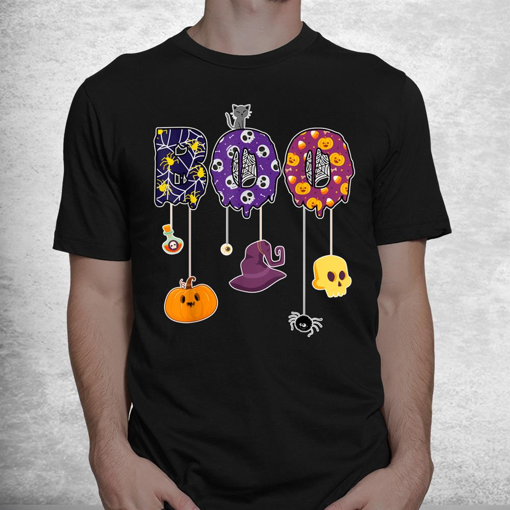 Boo Halloween Costume Spiders Ghosts Pumkin And Witch Hat Shirt