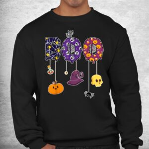 boo halloween costume spiders ghosts pumkin and witch hat shirt 2