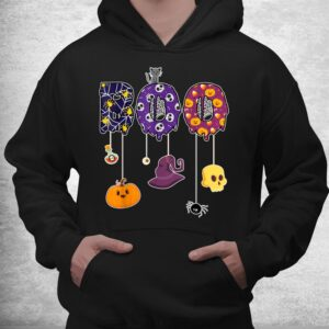 boo halloween costume spiders ghosts pumkin and witch hat shirt 3