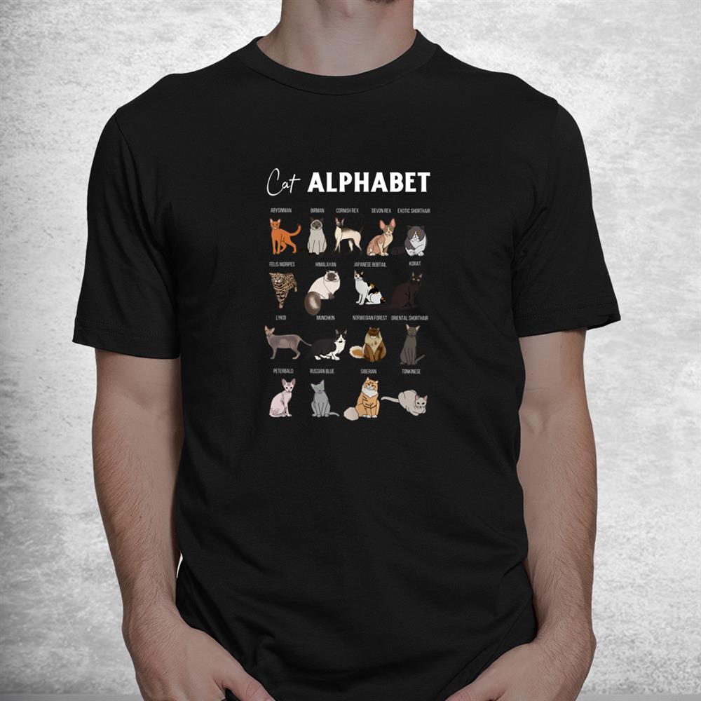 Cat Alphabet Cute Cat Breed Design Unisex Cat Lover Shirt