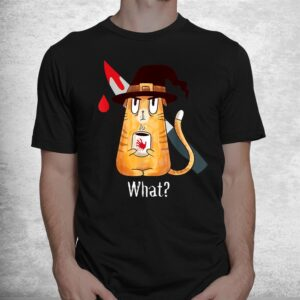 cat what murderous witch cat with knife halloween costume shirt 1