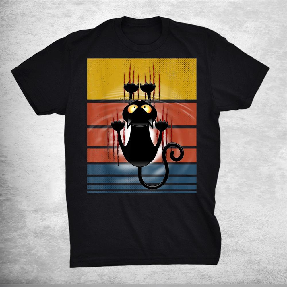 Cats 365 Retro Cute Black Cat Scratch Bloody Cat Lover Shirt