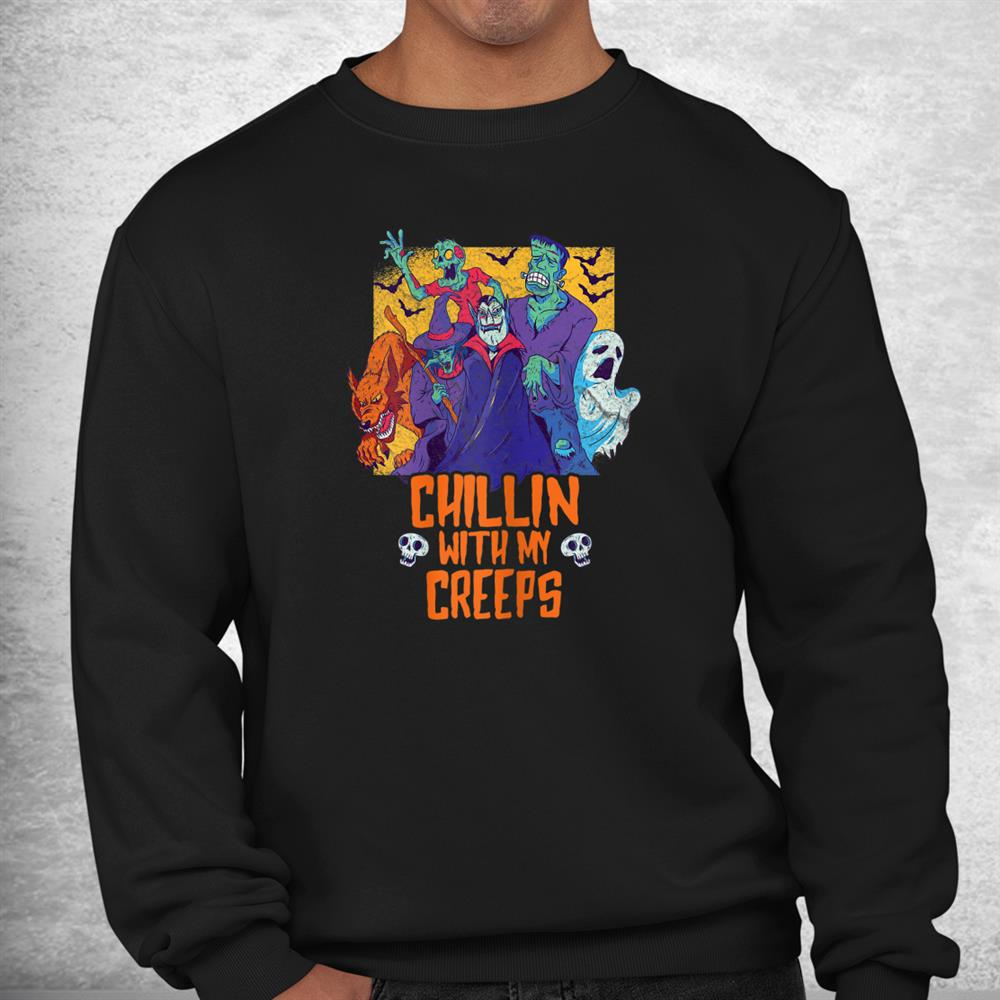 Chillin With My Creeps Funny Halloween Zombie Shirt
