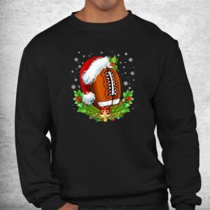 christmas football ball santa hat funny shirt 2