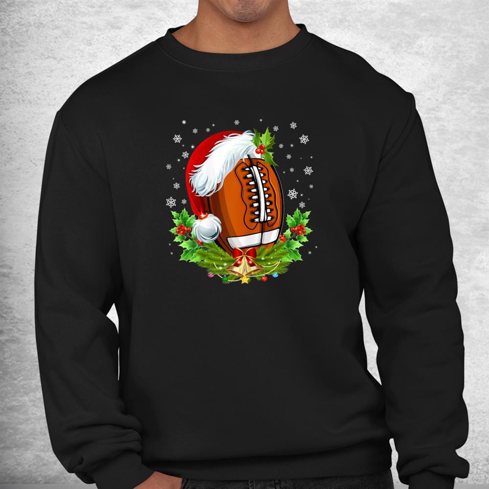Christmas Football Ball Santa Hat Funny Shirt
