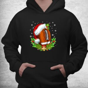 christmas football ball santa hat funny shirt 3