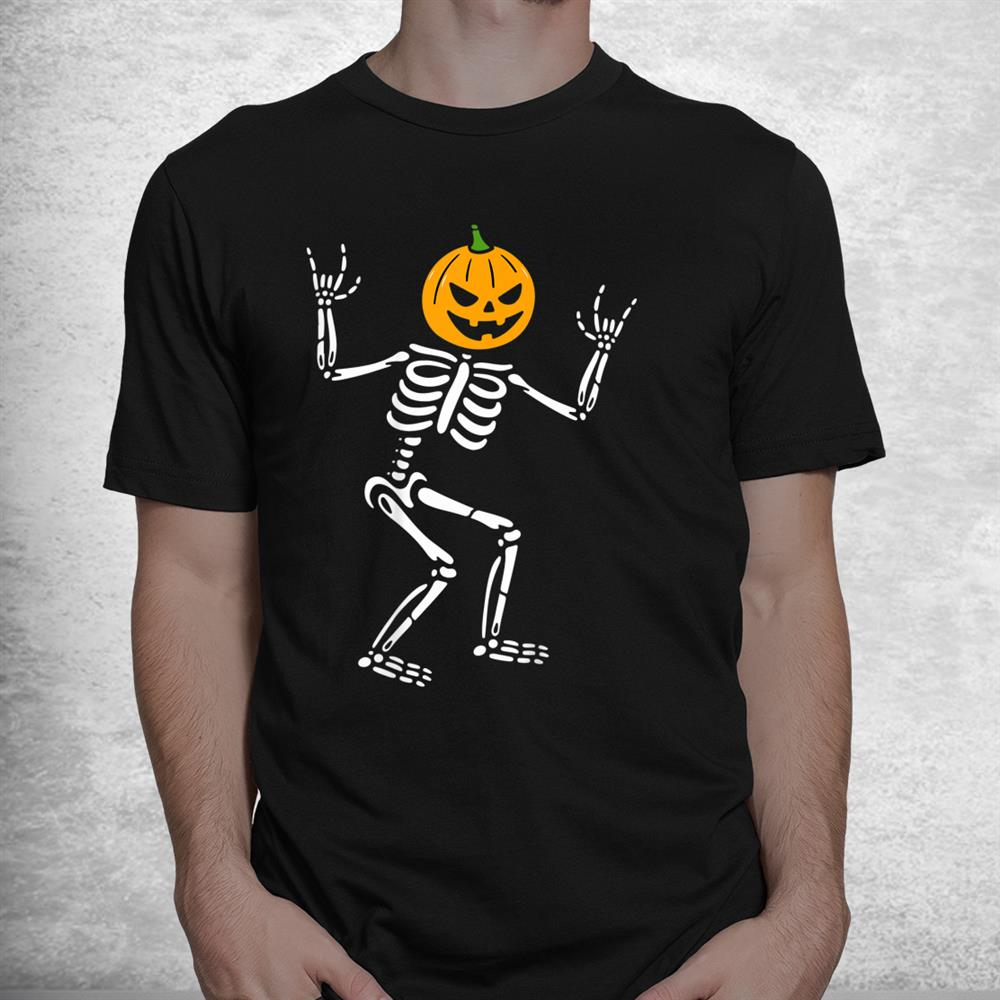 Cool Skeleton Pumpkin Head Scary Spooky New Halloween Shirt