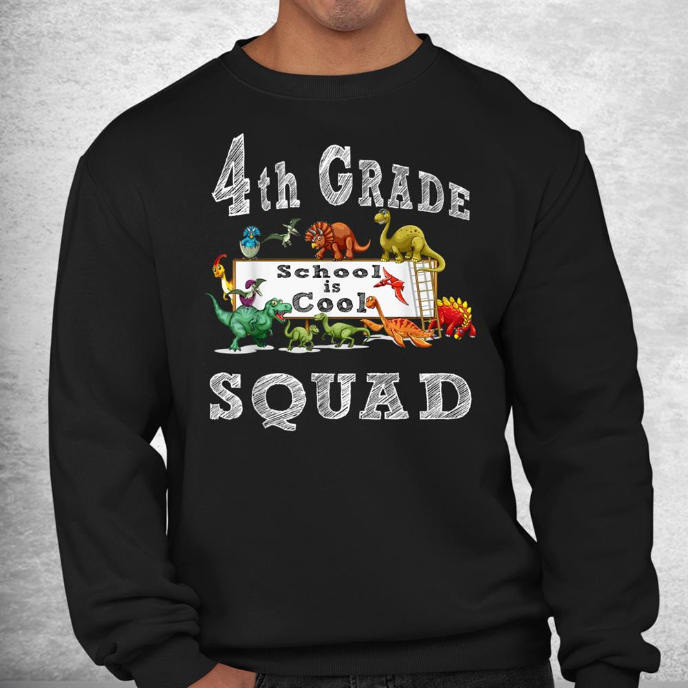 Crushing 4th Grade Back To School 2021 Team Dinosaur Squad Shirt
