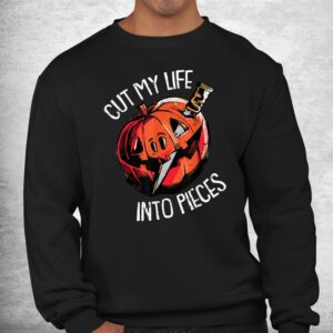 cut my life into pieces lazy halloween costume scary pumpkin shirt 2