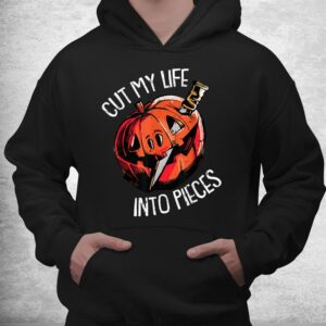 cut my life into pieces lazy halloween costume scary pumpkin shirt 3