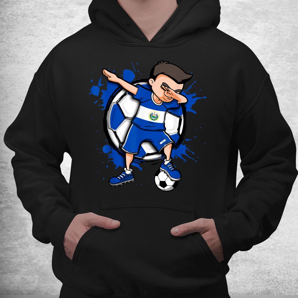 Dabbing Soccer Boy El Salvador Football Lovers Jersey Flag Shirt