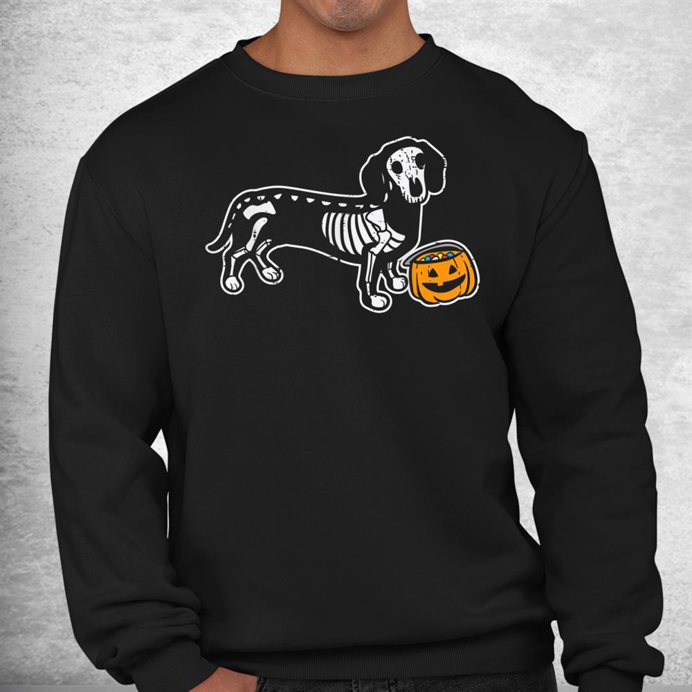 Dachshund Skeleton Jack O Lantern Funny Halloween Wiener Dog Shirt