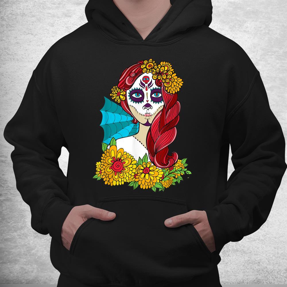 Day Of The Dead Dia De Los Muertos Woman Lady Flowers Girl Shirt