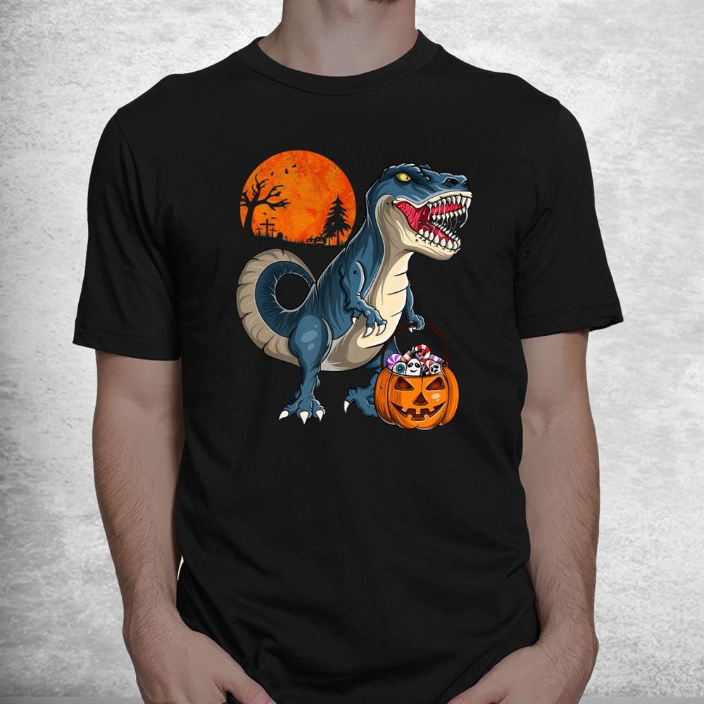 Dinosaur T Rex Pumpkin Funny Halloween Shirt