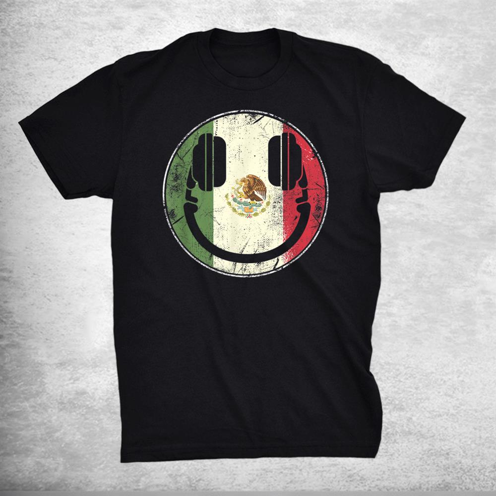 Distressed Retro Dj Headphones With Mexican Flag Shirt