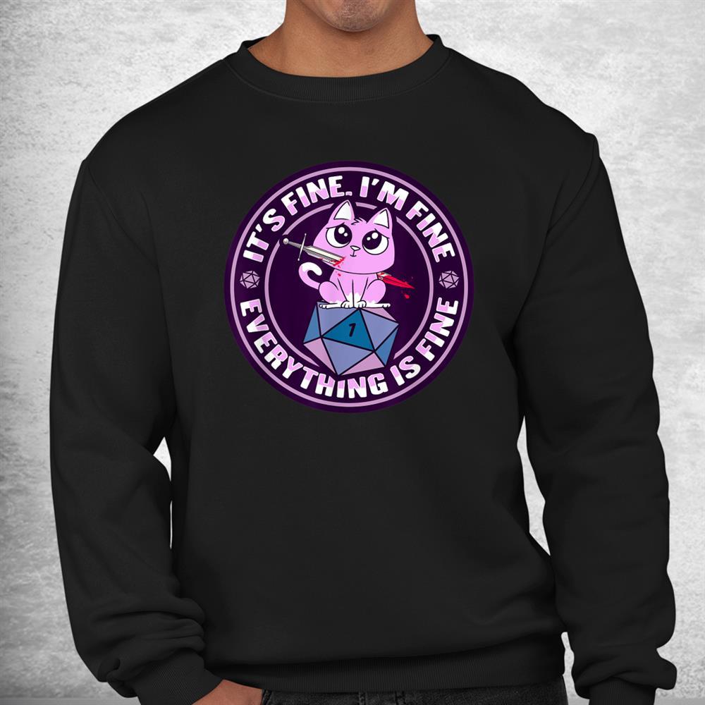 Dnd Cat Design For A Rpg Gamer Shirt