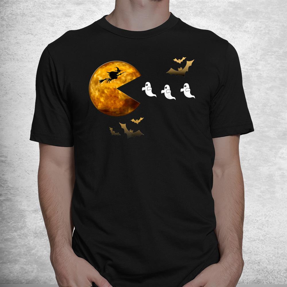 Fun Halloween Full Moon Eating Ghosts Halloween Shirt