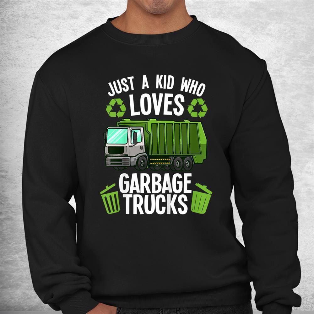 Funny Garbage Truck Art Boys Girls Kids Toddler Trash Truck Shirt