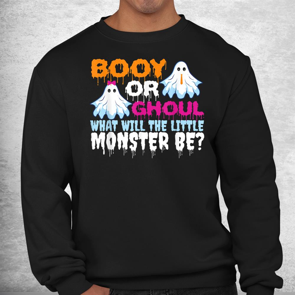 Funny Halloween Booy Or Ghoul Ghost Monster Gender Reveal Shirt