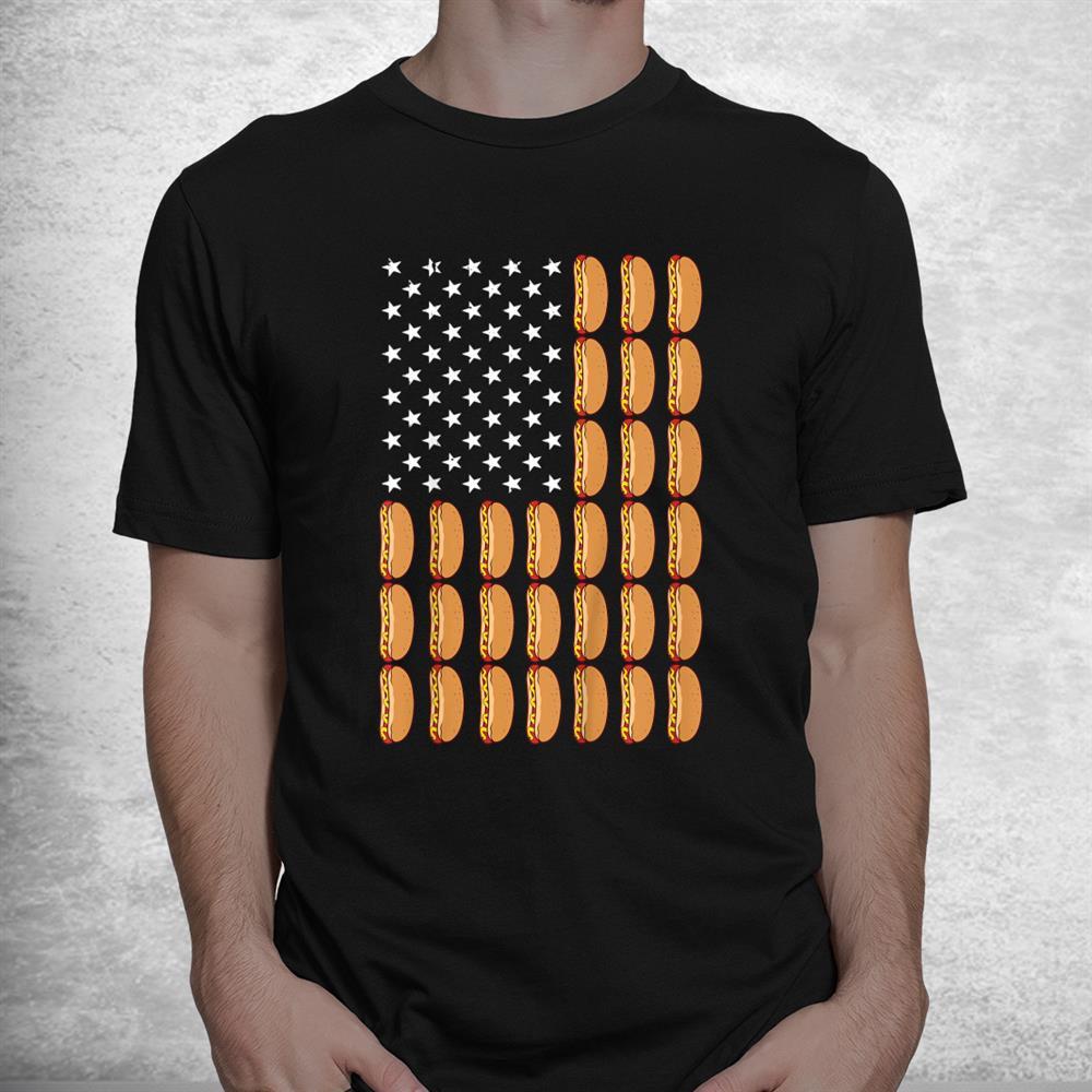 Funny Hot Dog American Flag Foodie Shirt