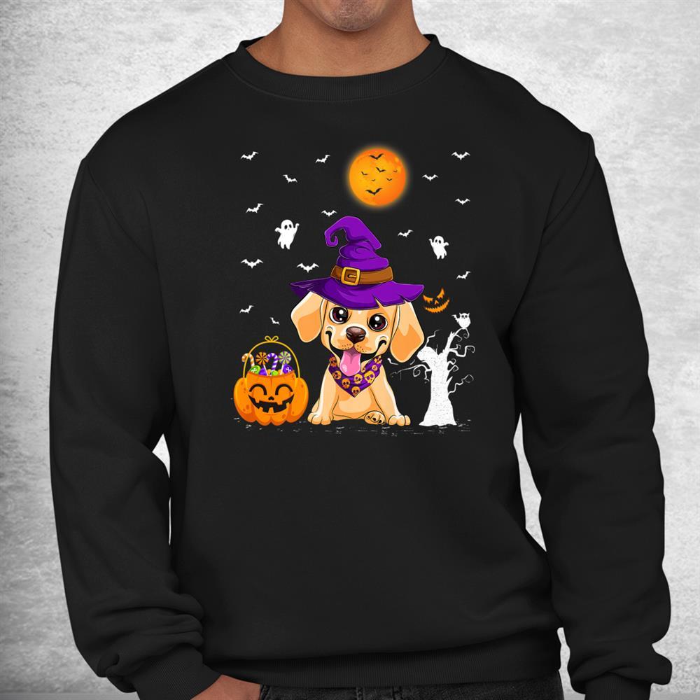 Funny Pumpkin Witch Hat Labrador Retriever Dog Halloween Shirt