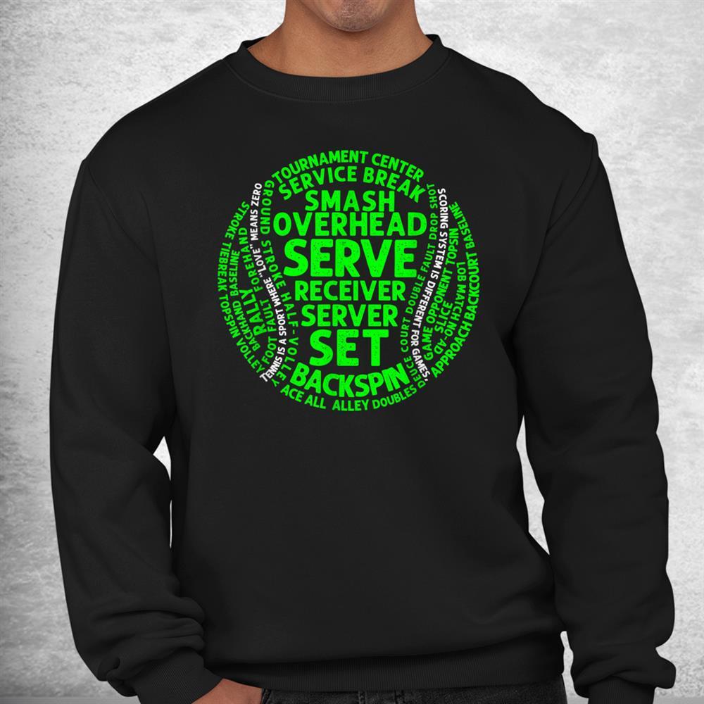 Funny Tennis Coach Word Cloud Ball Lawn Shirt