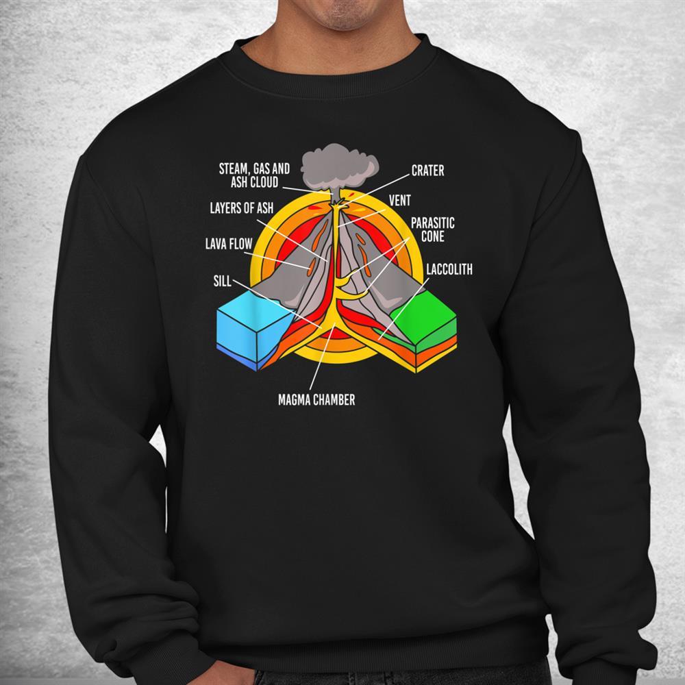 Geology Science Teacher Rocks Volcano Anatomy Kids Shirt
