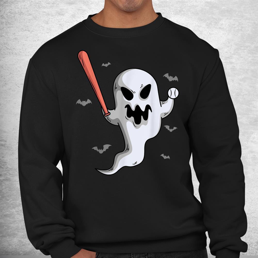 Ghost Baseball Player Halloween Themed Costume Shirt