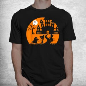 ghost skeleton and witch in front of a castle tree halloween shirt 1