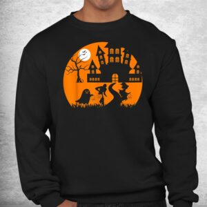 ghost skeleton and witch in front of a castle tree halloween shirt 2