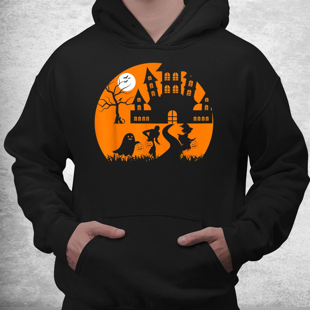 Ghost Skeleton And Witch In Front Of A Castle Tree Halloween Shirt