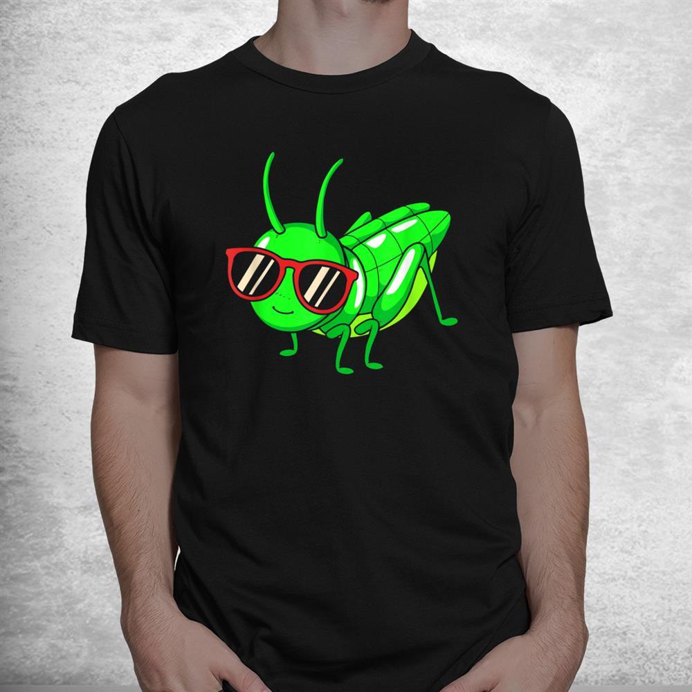 Grasshopper Wearing Eyeglasses Funny Insect Shirt