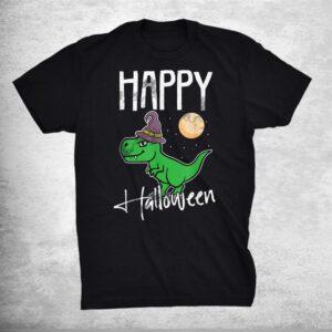 Happy Halloween Lazy Costume Funny Dinosaur T Rex Witch Shirt