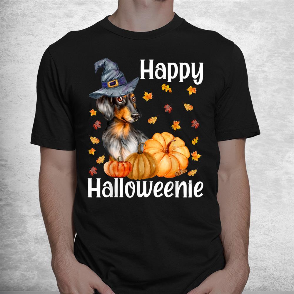Happy Halloweenie Cute Halloween Dachshund Witch Wiener Shirt