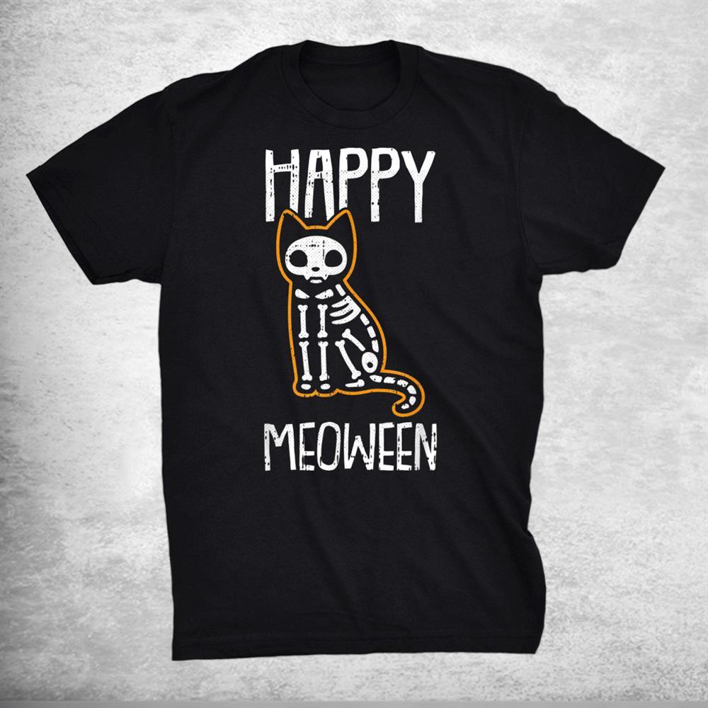 Happy Meoween Lazy Halloween Costume Funny Cat Skeleton Shirt