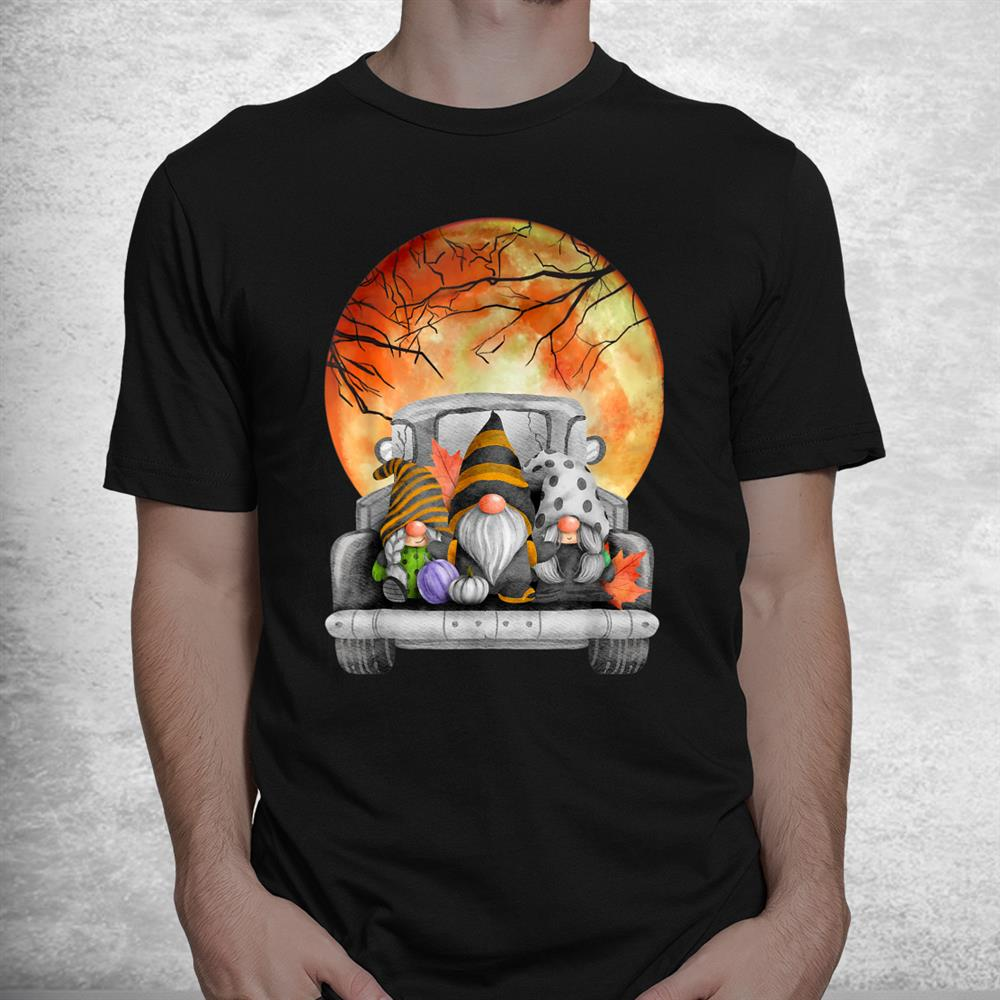 Harvest Fall Halloween Moon Gnomes Truck Bed Goth Cute Spook Shirt