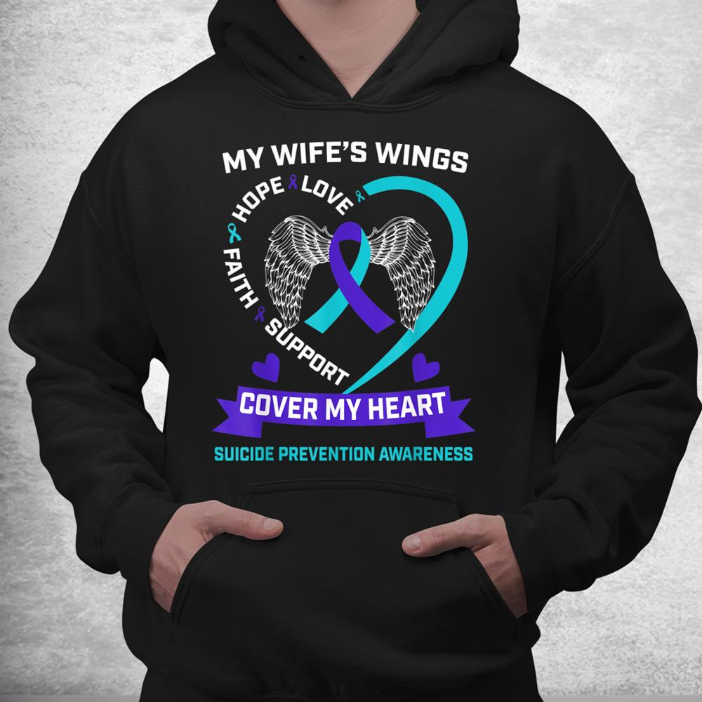 Heart Teal Purple Miss My Wife Suicide Awareness Prevention Shirt