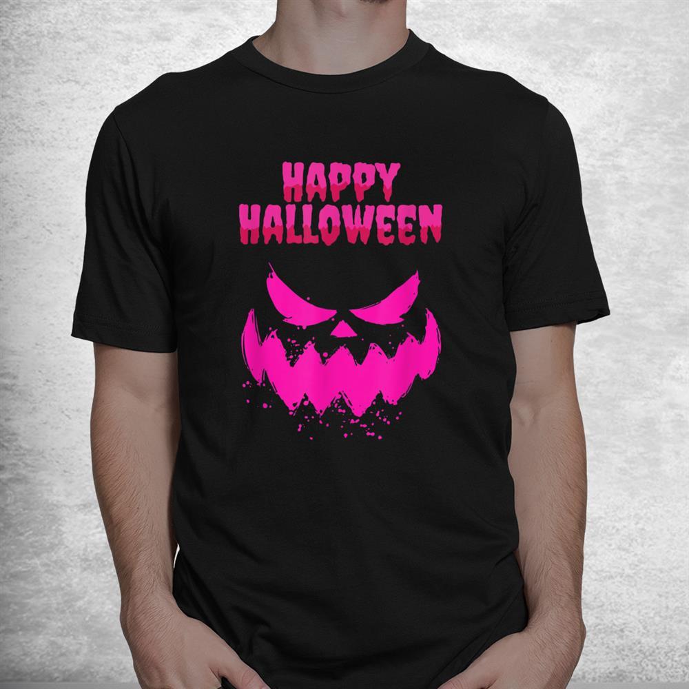 Horror Pumpkin In Pink Girls Scary Costume Halloween 2021 Shirt