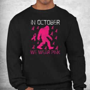 in october we wear pink breast cancer bigfoot kids toddler shirt 2