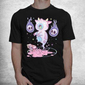 kawaii pastel goth cute creepy strawberry milk ghost cow shirt 1