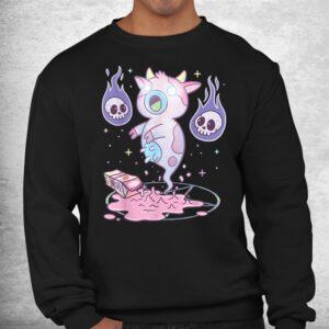 kawaii pastel goth cute creepy strawberry milk ghost cow shirt 2