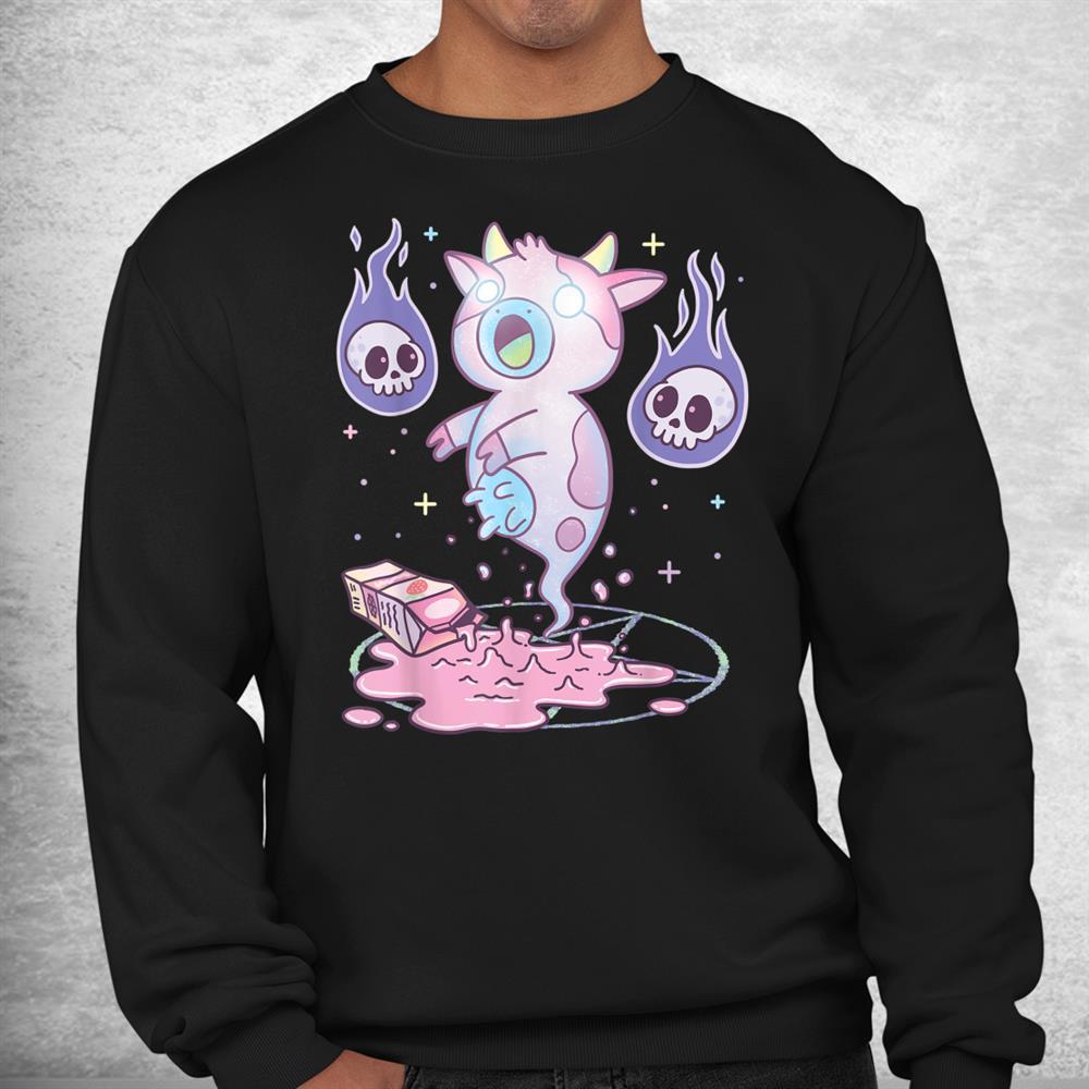 Kawaii Pastel Goth Cute Creepy Strawberry Milk Ghost Cow Shirt