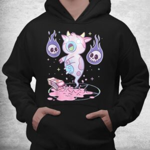 kawaii pastel goth cute creepy strawberry milk ghost cow shirt 3
