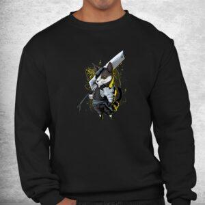 killer cat sword japanese warrior aesthetic edgy streetwear shirt 2