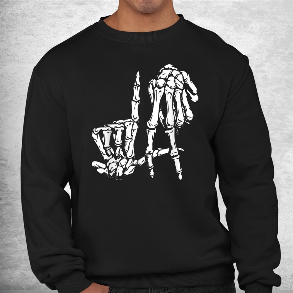 La Hand Sign Lazy Diy Halloween Costume Skeleton Los Angeles Shirt